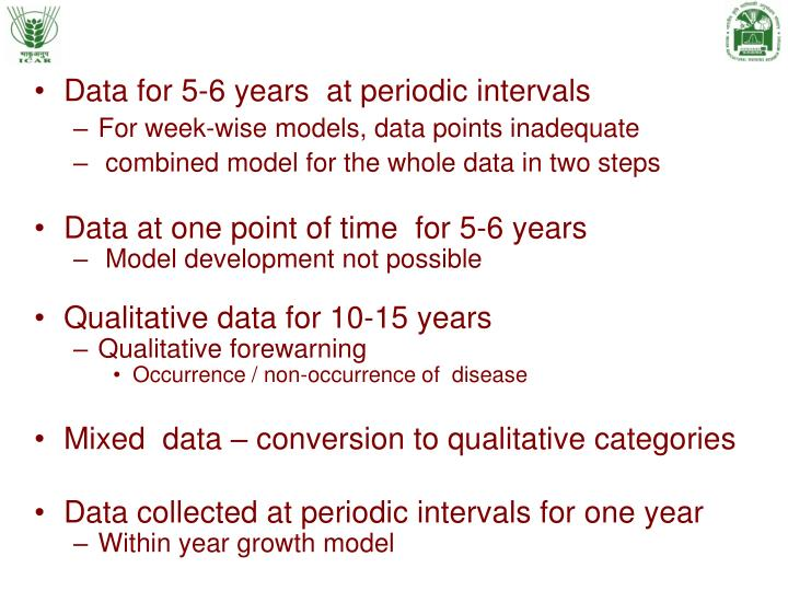 Data for 5-6 years  at periodic intervals
