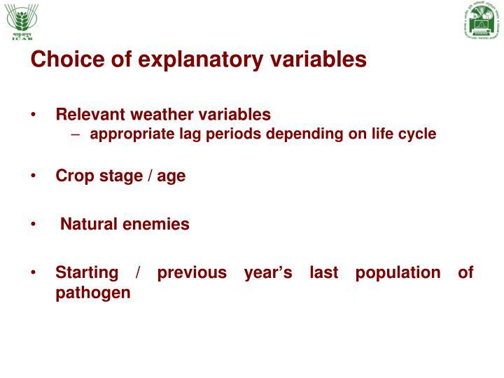 Choice of explanatory variables