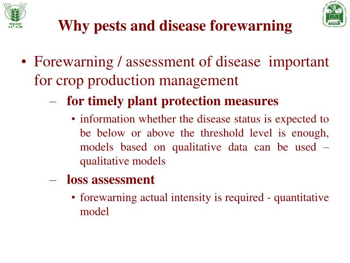 Why pests and disease forewarning