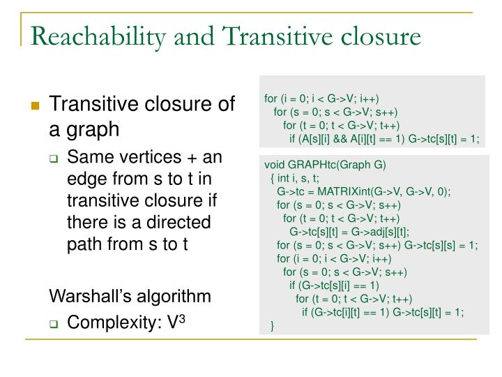 Reachability and Transitive closure
