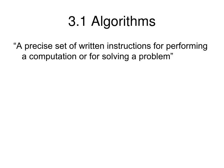 3.1 Algorithms