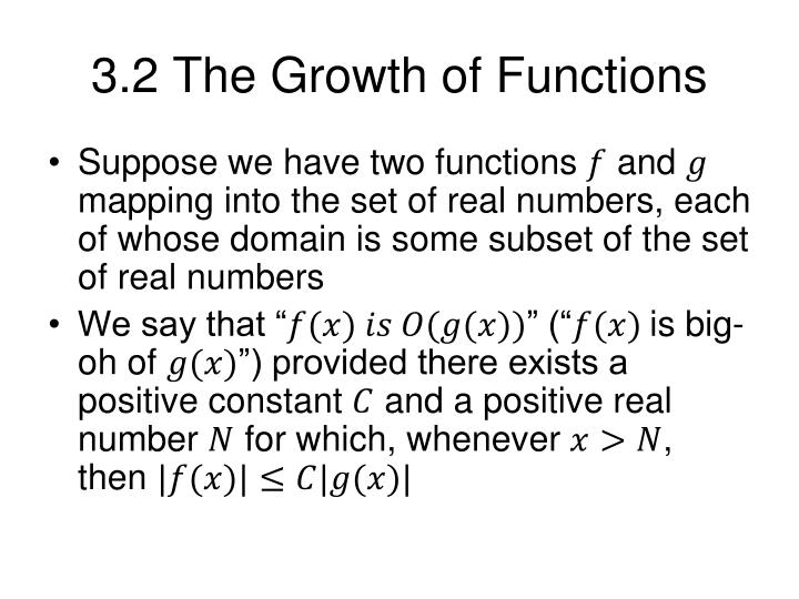 3.2 The Growth of Functions