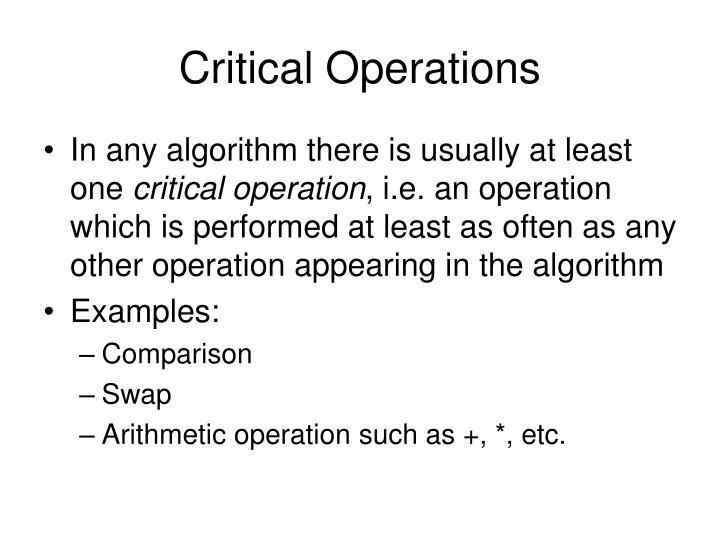 Critical Operations