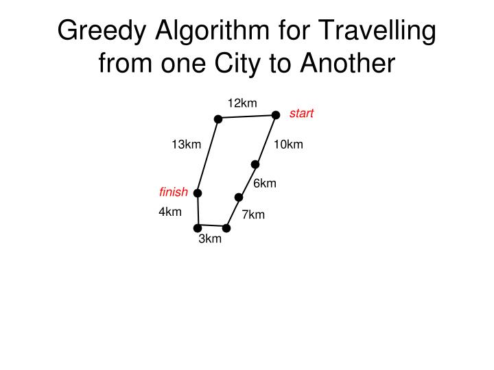 Greedy Algorithm for Travelling from one City to Another