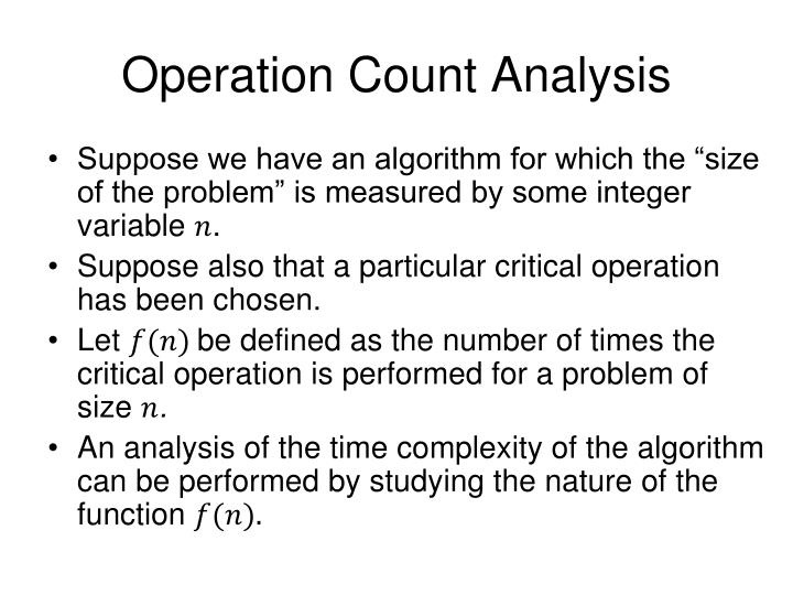 Operation Count Analysis