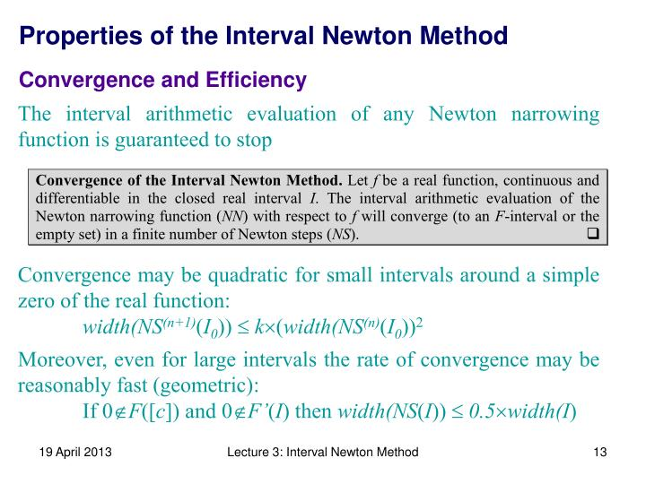 Properties of the Interval Newton Method