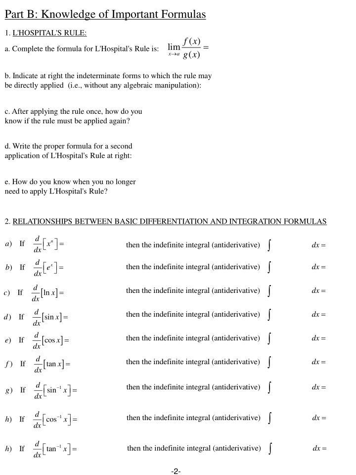 Part B: Knowledge of Important Formulas