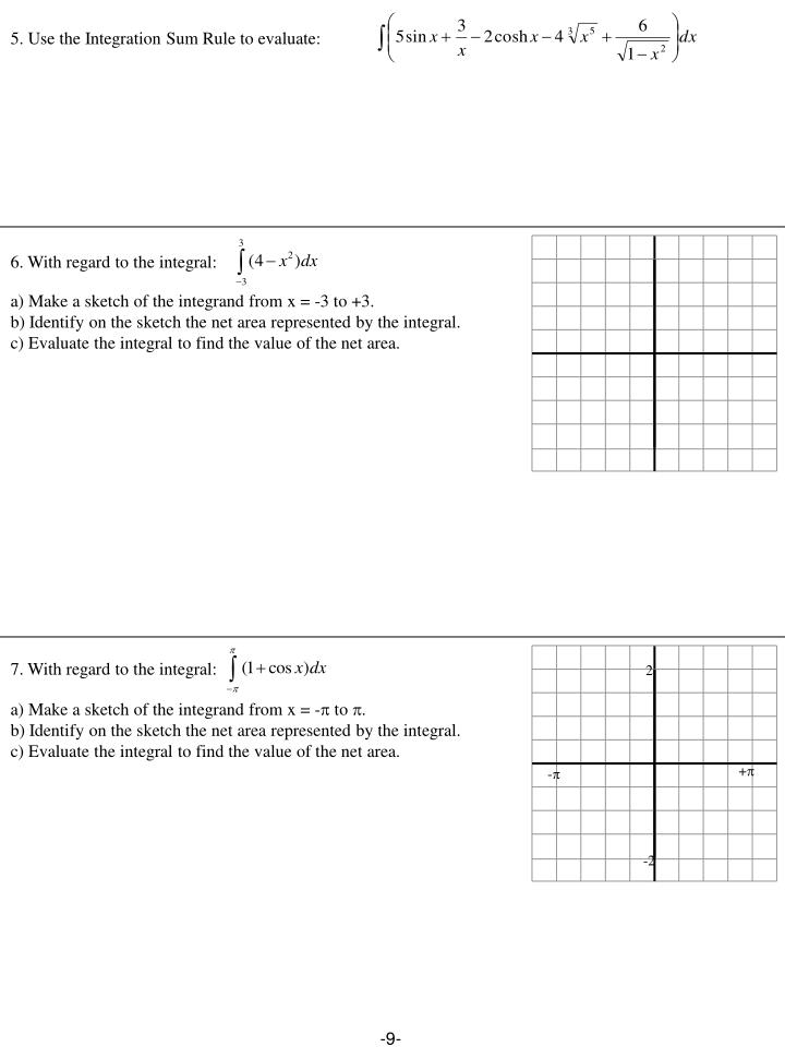 5. Use the Integration Sum Rule to evaluate: