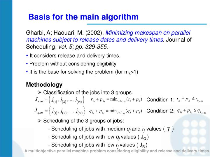Basis for the main algorithm