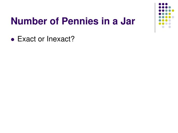 Number of Pennies in a Jar
