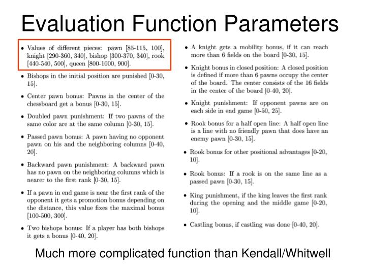 Evaluation Function Parameters