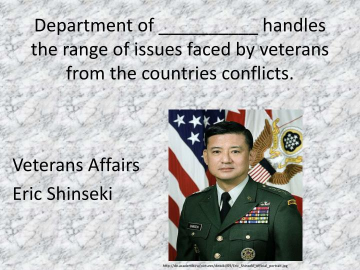 Department of __________ handles the range of issues faced by veterans from the countries conflicts.