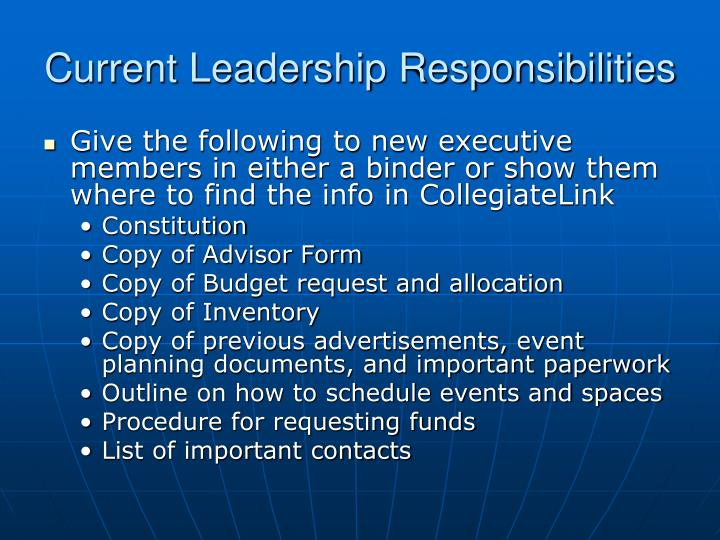 Current Leadership Responsibilities