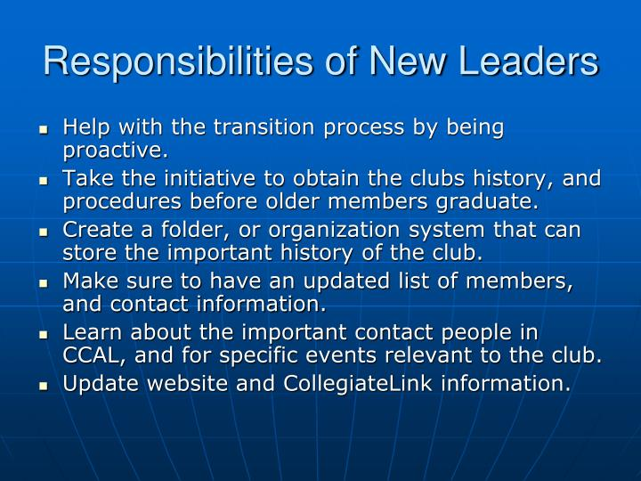 Responsibilities of New Leaders