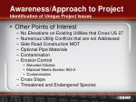 awareness approach to project identification of unique project issues16