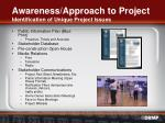 awareness approach to project identification of unique project issues18
