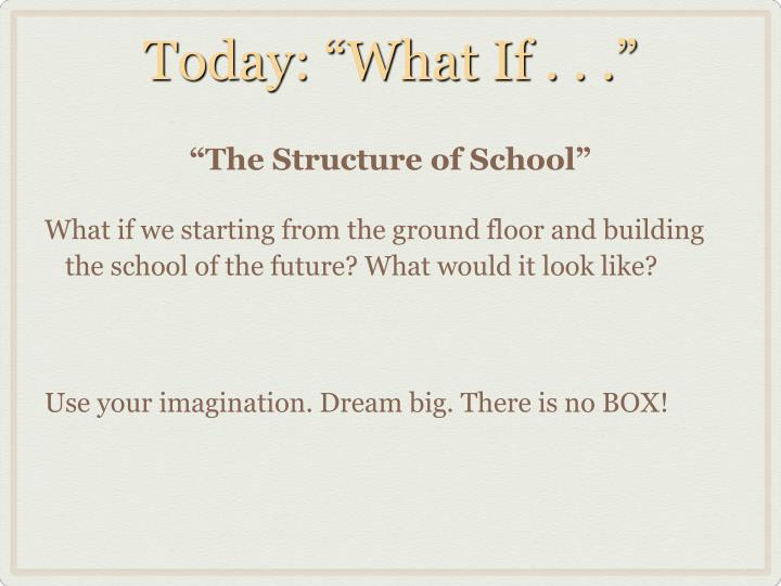 """Today: """"What If . . ."""""""