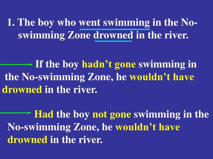 1. The boy who went swimming in the No-