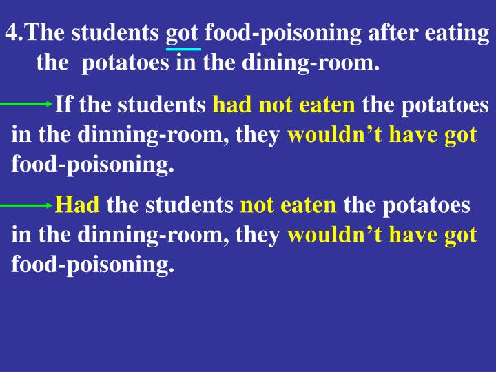 4.The students got food-poisoning after eating