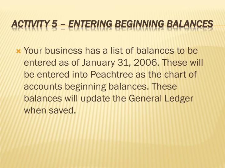 Your business has a list of balances to be entered as of January 31, 2006. These will be entered into Peachtree as the chart of accounts beginning balances. These balances will update the General Ledger when saved.