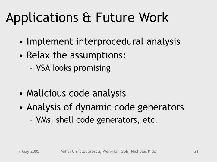 Applications & Future Work