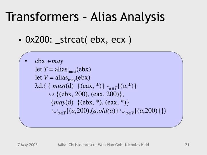 Transformers – Alias Analysis