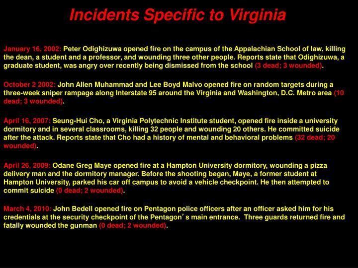 Incidents Specific to Virginia