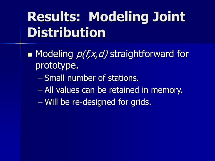 Results:  Modeling Joint Distribution