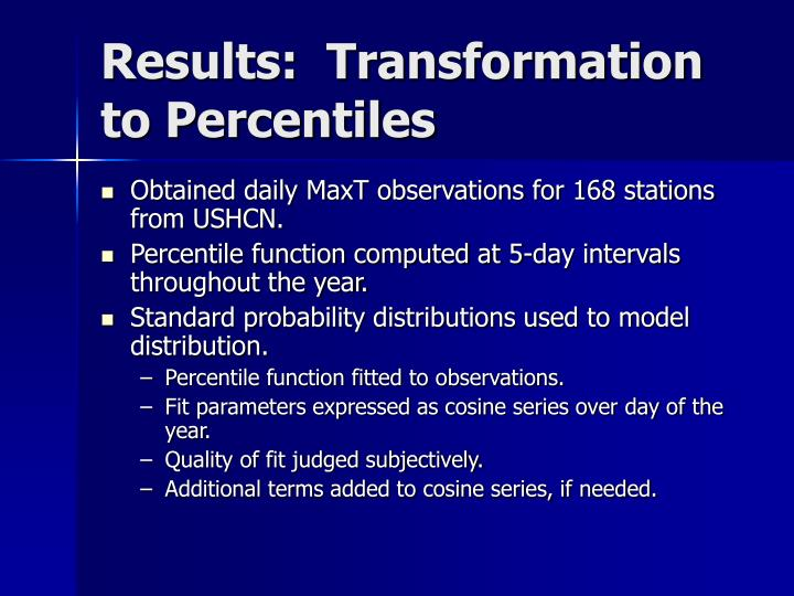 Results:  Transformation to Percentiles