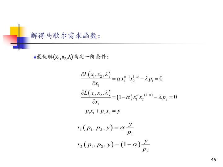 解得马歇尔需求函数: