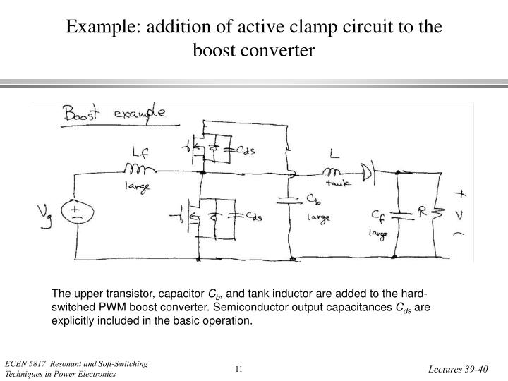 Example: addition of active clamp circuit to the boost converter