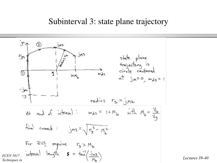 Subinterval 3: state plane trajectory