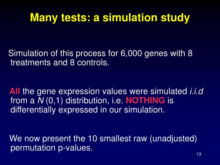 Many tests: a simulation study