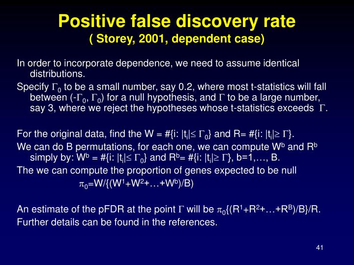 Positive false discovery rate