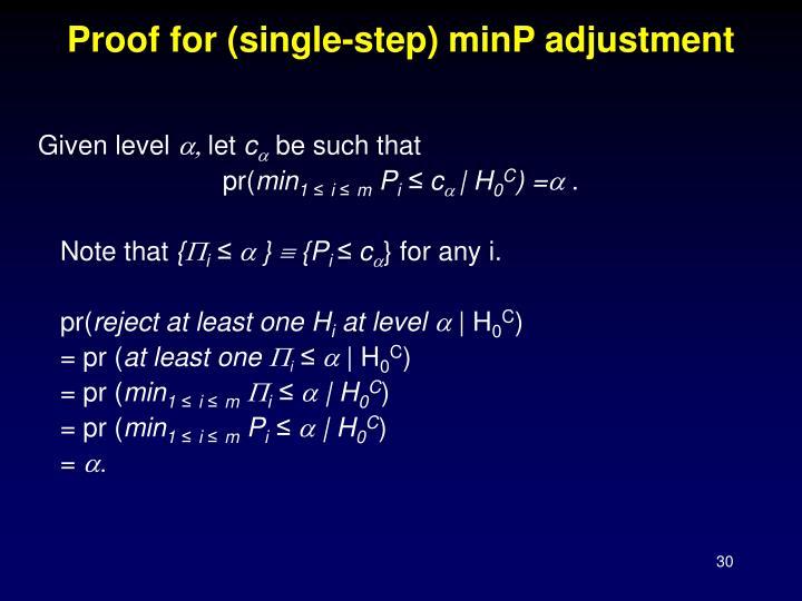 Proof for (single-step) minP adjustment