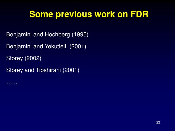 Some previous work on FDR