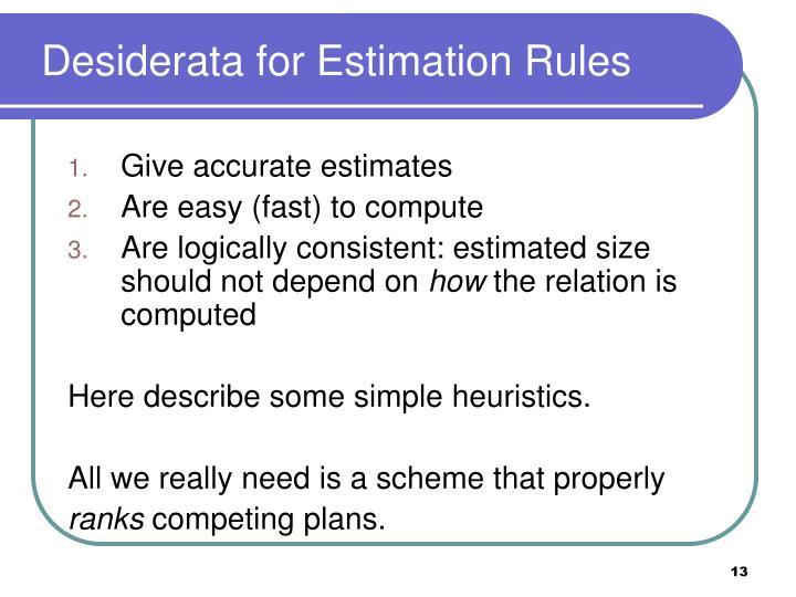 Desiderata for Estimation Rules