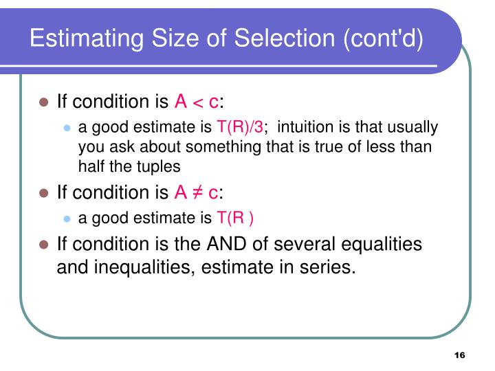 Estimating Size of Selection (cont'd)