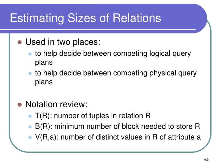 Estimating Sizes of Relations