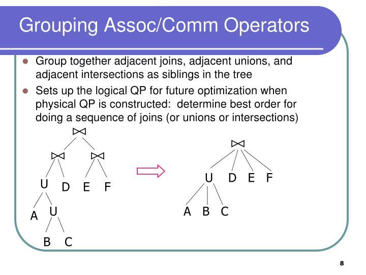 Grouping Assoc/Comm Operators