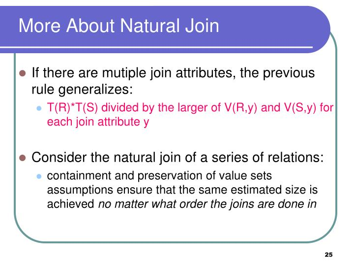 More About Natural Join