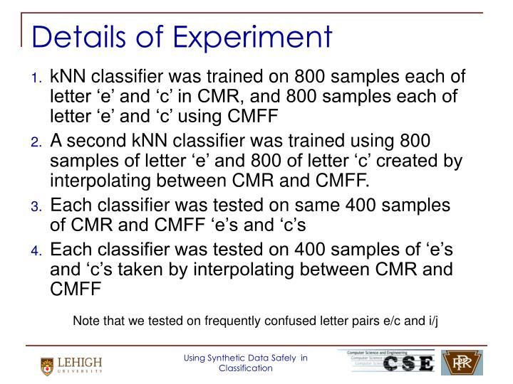 Details of Experiment