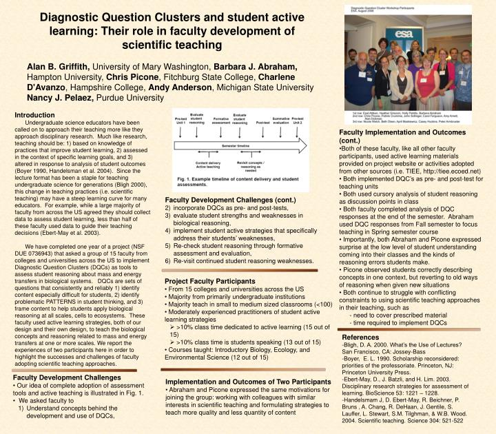 Diagnostic Question Clusters and student active learning: Their role in faculty development of scientific teaching