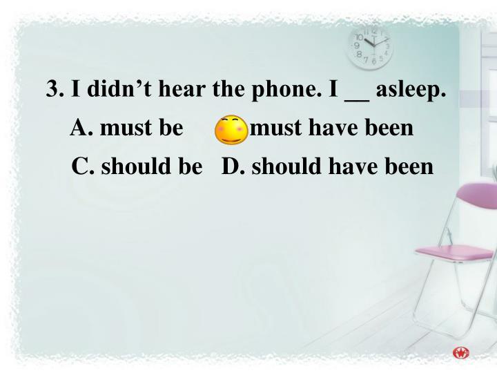 3. I didn't hear the phone. I __ asleep.