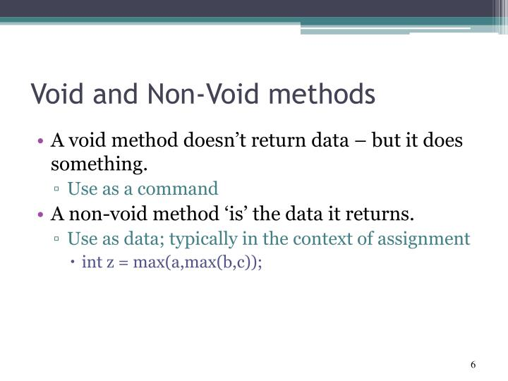 Void and Non-Void methods