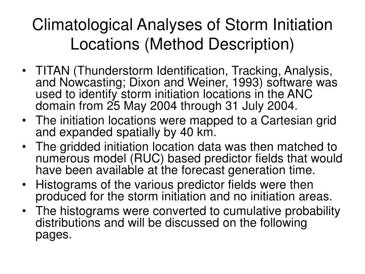 Climatological Analyses of Storm Initiation Locations (Method Description)