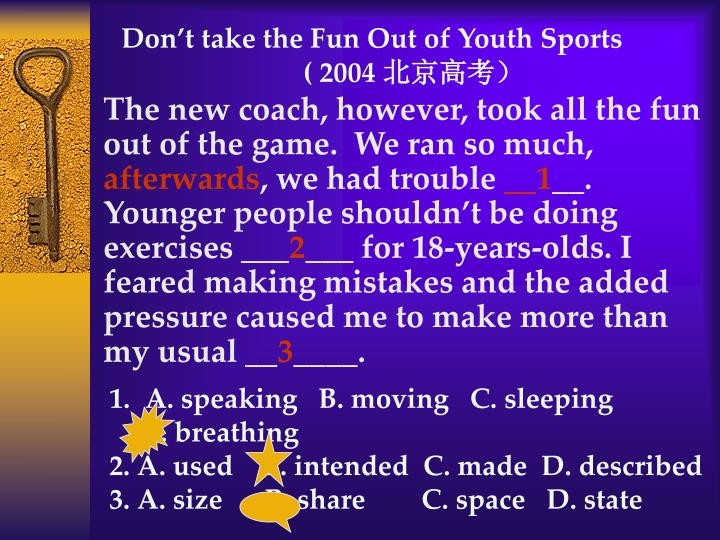 Don't take the Fun Out of Youth Sports