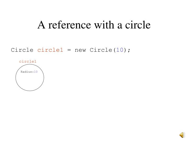 A reference with a circle