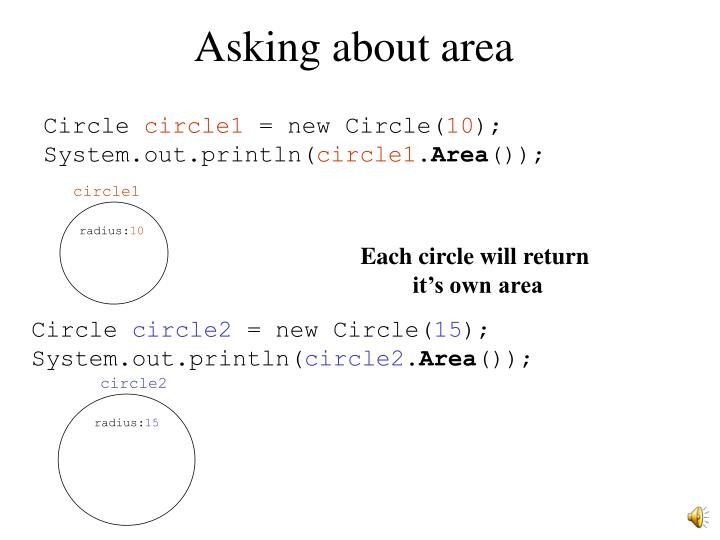 Asking about area