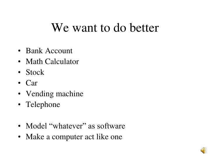 We want to do better
